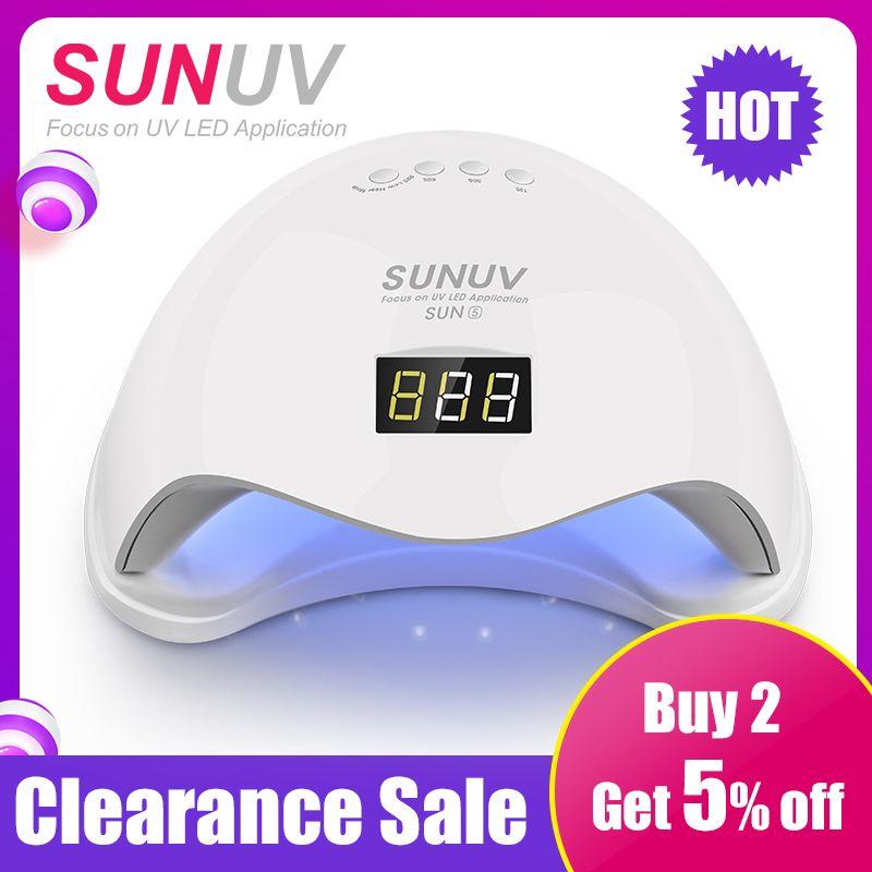 SUNUV SUN5 48 W Double UV LED Nail Lampe Sèche-Polonais de Gel Traitant La Lumière avec Fond 30 s/ 60 s Minuterie LCD affichage