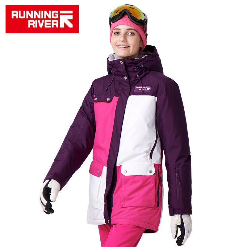 FLUSS Marke Frauen Snowboard Jacken Für Winter Warmen Mitte oberschenkel Outdoor-bekleidung Hochwertigen Sportjacke # A7022