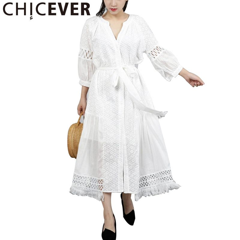 CHICEVER 2018 Spring Embroidery Women Dress Hollow Lantern Sleeve Loose Big Size Asymmetrical Dresses Female Clothes Fashion New
