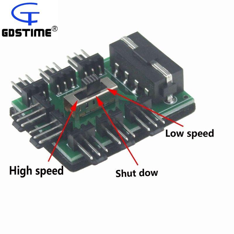 2pcs Gdstime D Type Molex 4 Pin Power Socket to 8-Port 3 Pin male Socket Fan Hub Splitter Card Multi Way Fan Low Off High Switch