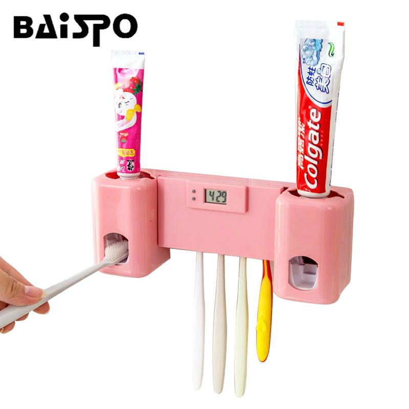 BAISPO Salle De Bains accessoires Produits Horloge Automatique Distributeur de Pâte Dentifrice + Brosse À Dents Holder Set Wall Mount Support Baignoire Orale
