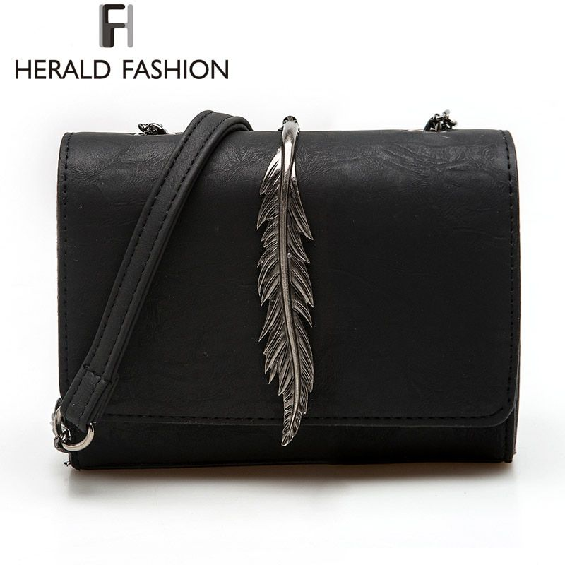 Herald Fashion Leaves Decorated Mini Flap Bag Suede PU Leather Small Women Shoulder Bag Chain Messenger Bag Autumn New <font><b>Arrival</b></font>