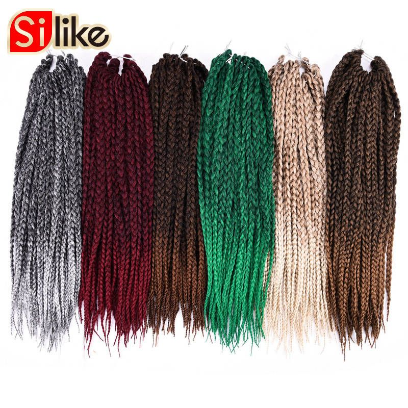 Silike 1 Pack/lot Ombre Black Gray 3S Small Box Braids Crochet Hair Extensions 24 Roots 18