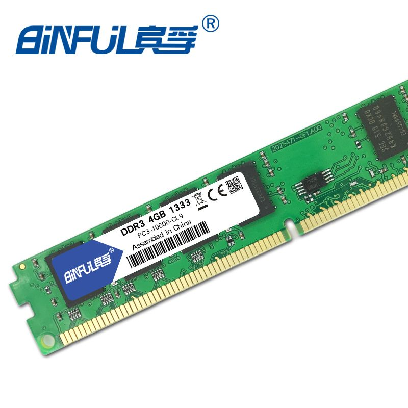 Binful orignial Nouveau DDR3 4 GB 1333 mhz PC3-10600 pour Bureau RAM Mémoire 240pin compatible avec Bureau pour Intel et AMD