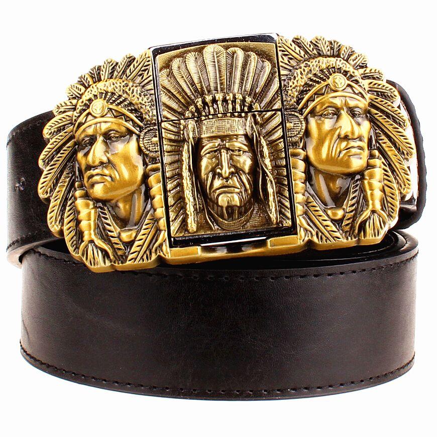 Mode homme cuir ceinture briquet métal boucle ceintures kérosène briquet ceinture punk rock style indiens aigle montrer ceinture cadeau pour hommes