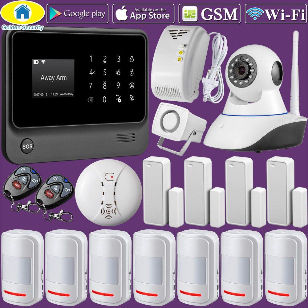 Sécurité dorée G90B Plus WiFi GSM GPRS intégré sans fil APP contrôle Top maison système d'alarme de sécurité antivol avec caméra IP