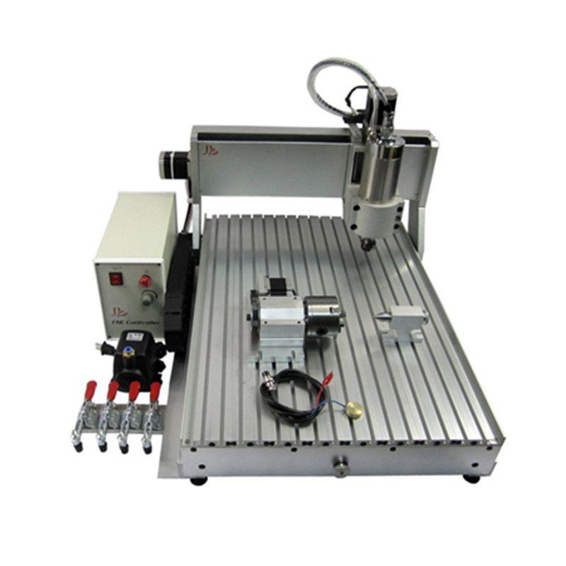 CNC Router 6090 metall Gravur Maschine 4 achsen USB Port 2200 W Wasser Kühlung Carving mit freies cutter schraubstock collet bohren kits