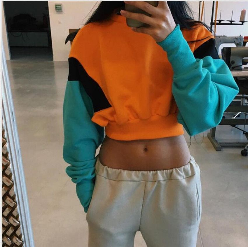 Spring and Autumn Women's Fashion Stitching Candy Color Navel Sweatshirt