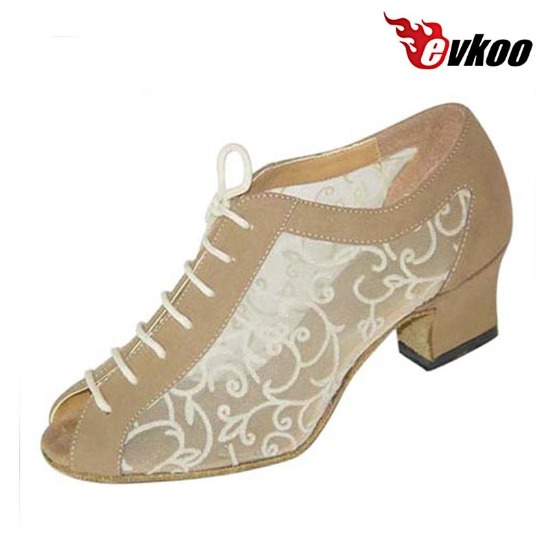 Evkoodance Practise Dance Shoes Black And Khaki Nubuck And Pattern Mesh 4.5cm Woman Ballroom Shoes Standard Evkoo-016