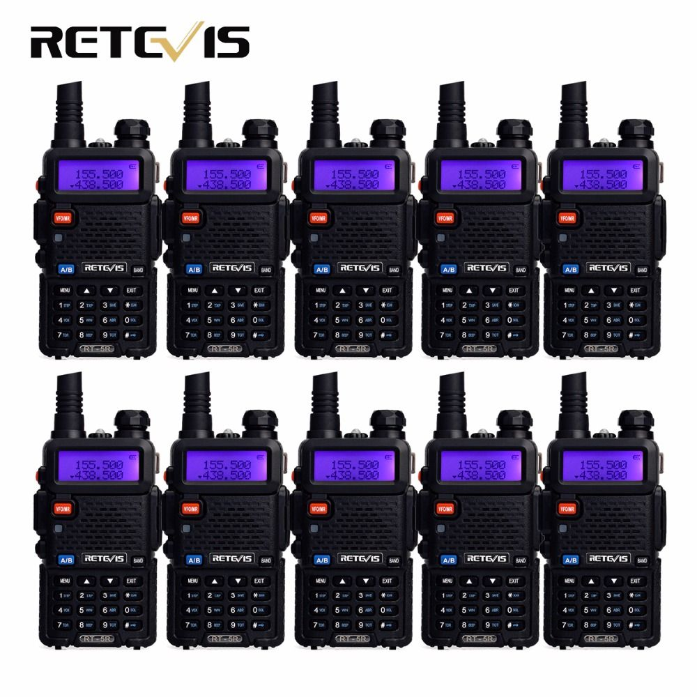 10 stücke Walkie Talkie Retevis RT-5R 5 Watt 128CH Dual Band UHF + VHF Amateurfunk Hf-Transceiver Radio Comunicador A7105A