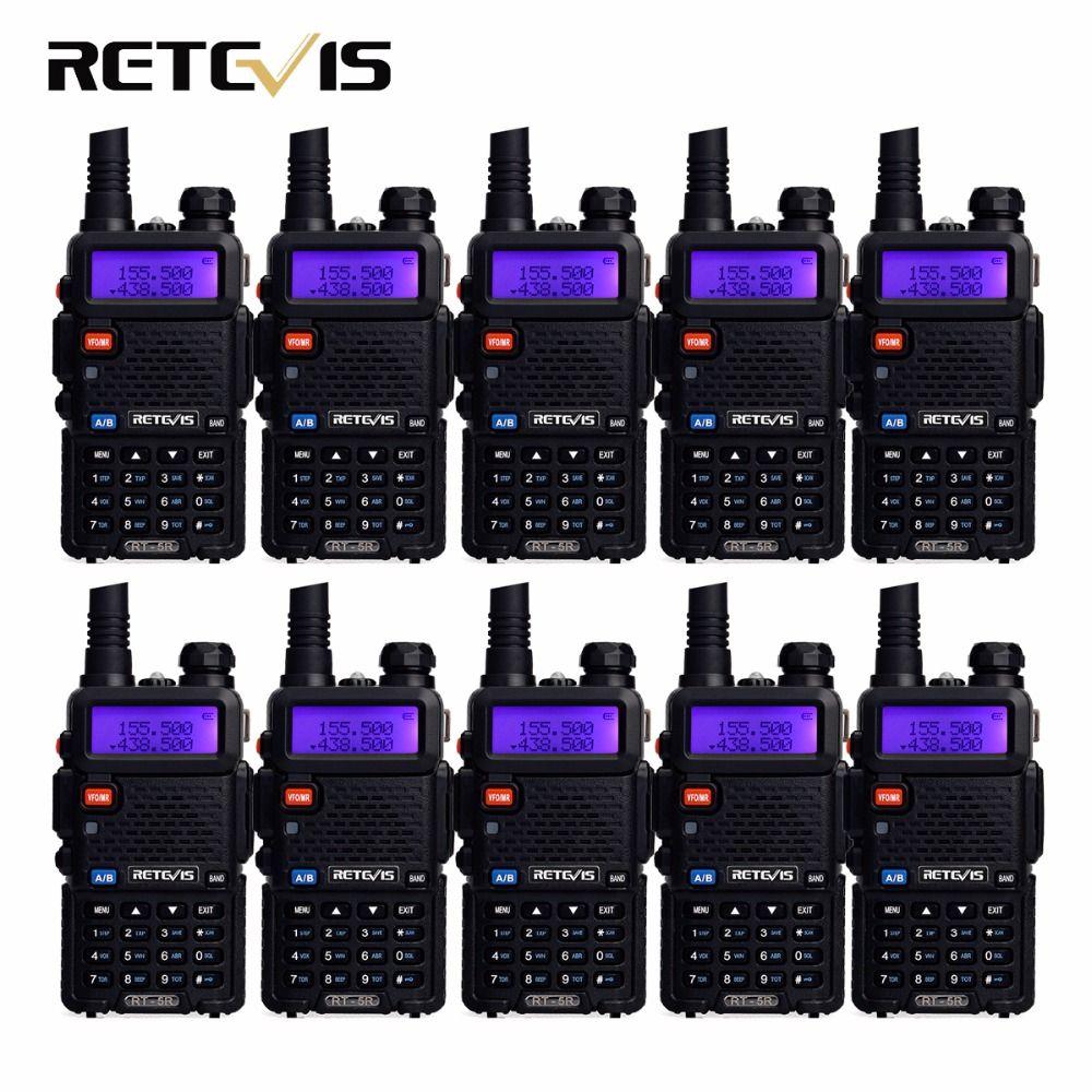 10pcs Walkie Talkie Retevis RT-5R 5W 128CH Dual Band UHF+VHF Ham Radio Hf Transceiver Radio Comunicador A7105A