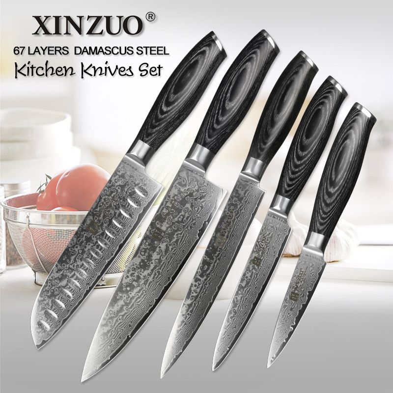XINZUO 5 pcs kitchen knives set Japanese VG10 Damascus Stainless steel cleaver chef utility knife sharp razor pakka wood handle