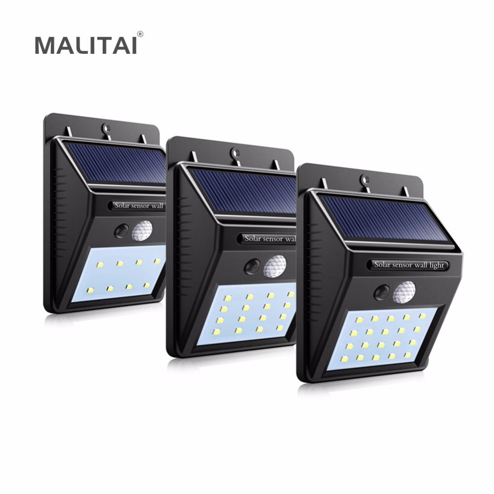 Waterproof Outdoor Wall LED Solar Night light PIR Motion Sensor Auto Swith Solar lamp Porch Path Street Fence Garden lighting