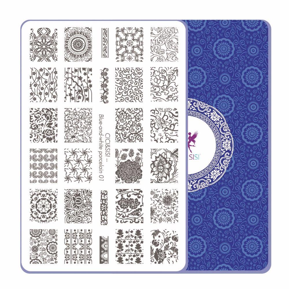 CICI и Sisi Китай Стиль Дизайн ногтей тиснения Таблички штамповка Stamp шаблон Интимные аксессуары сине-белая тема 01- 04
