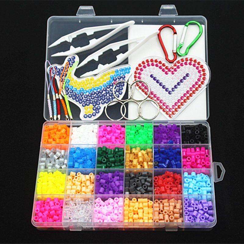 5mm 24 couleur perler perles kit, hama perles avec des modèles accessoires pour enfants enfants DIY handmaking 3D puzzle Jouets éducatifs