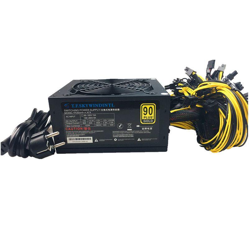 T.F.SKYWINDINTL 2000W Bitcoin Mining PSU PC Power Supply Computer Mining Rig 8 GPU ATX Ethereum Coin 12v 4 pin Power supply