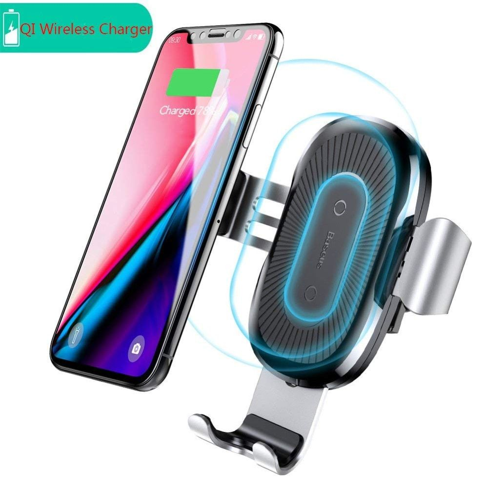 Baseus Car Holder Qi Wireless Charger For iPhone Samsung S9 Plus Mobile Phone Holder 10W Fast Wireless Car Charger Phone Holder