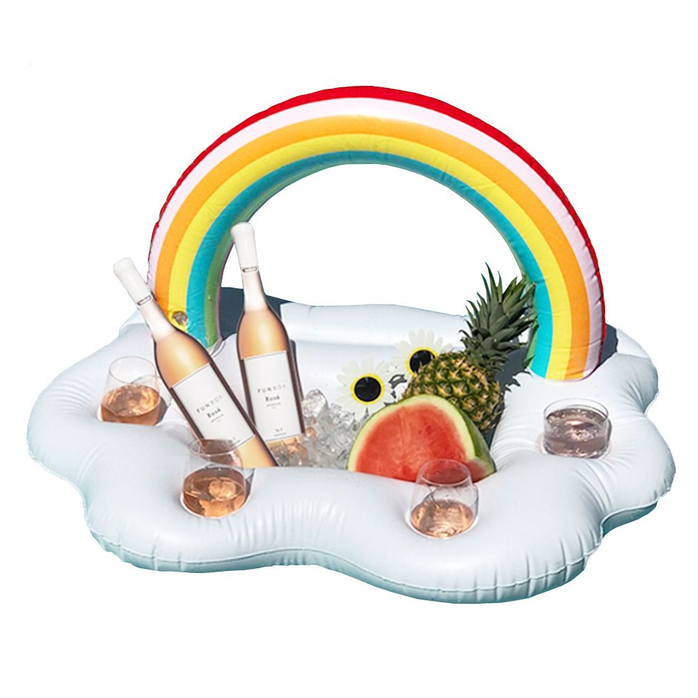 Rainbow Cloud Drink Holder Beach Party Cooler 2018 Newest Inflatable Coasters Swim Pool Floats Kid Adult Beverage Water Fun Toys