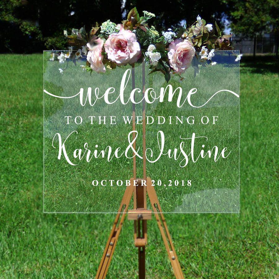 Décalcomanie de bienvenue de mariage personnalisé Couples noms et Dates vinyle miroir conseil mural autocollant amovible Simple décor de mariage G209