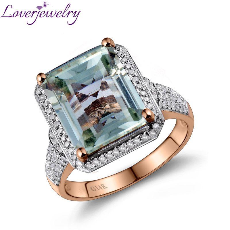 Loverjewelry Ring Für Frauen Smaragd Cut Grün Edelstein 100% Natürliche Amethyst Diamant-verlobungsring Solid 14 K Rose Gold Schmuck