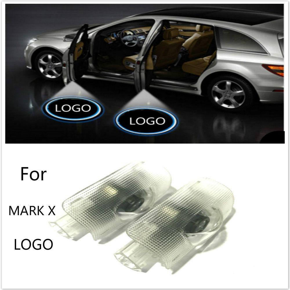 JURUS A pair LED Car Door Welcome Light Ghost Shadow Light Logo Projector For Toyota Mark X Reiz 2006-2017 car-styling
