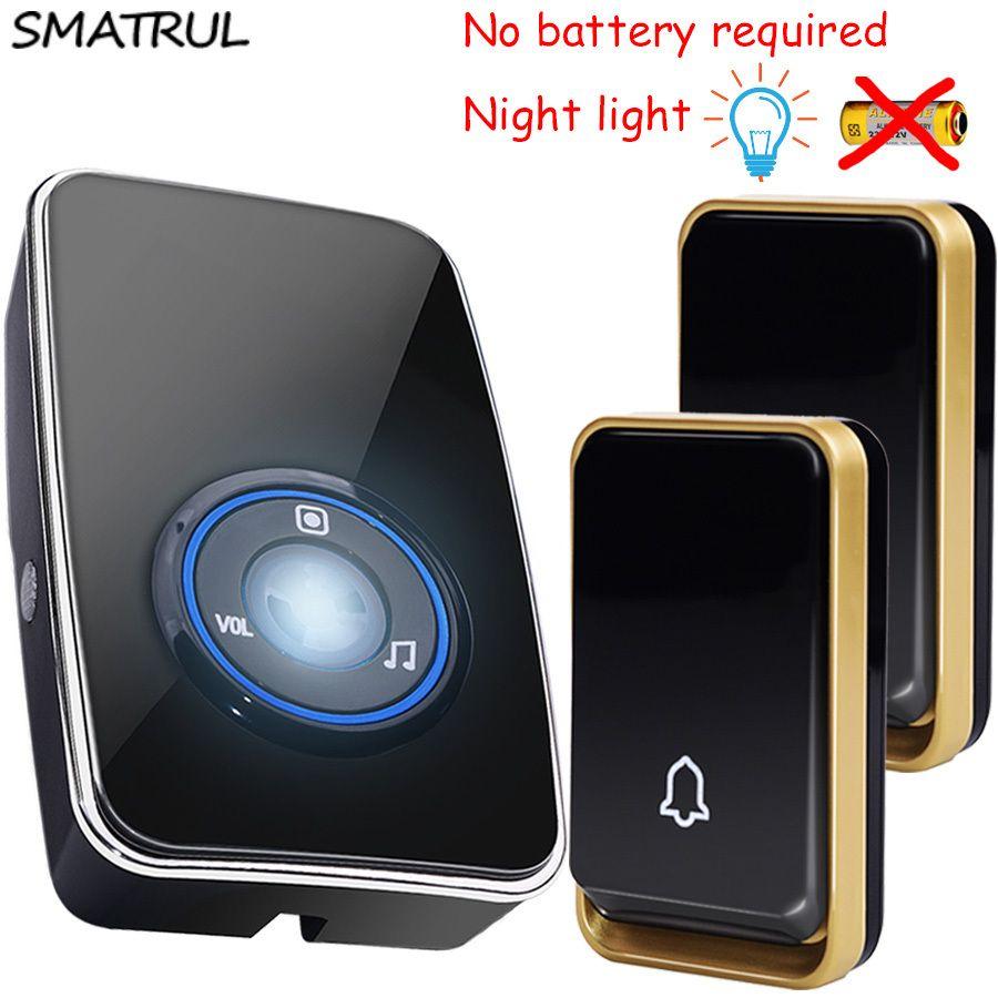 SMATRUL self powered Waterproof Wireless Door Bell night light sensor no battery EU plug smart DoorBell 2 button 1 Receiver 220V