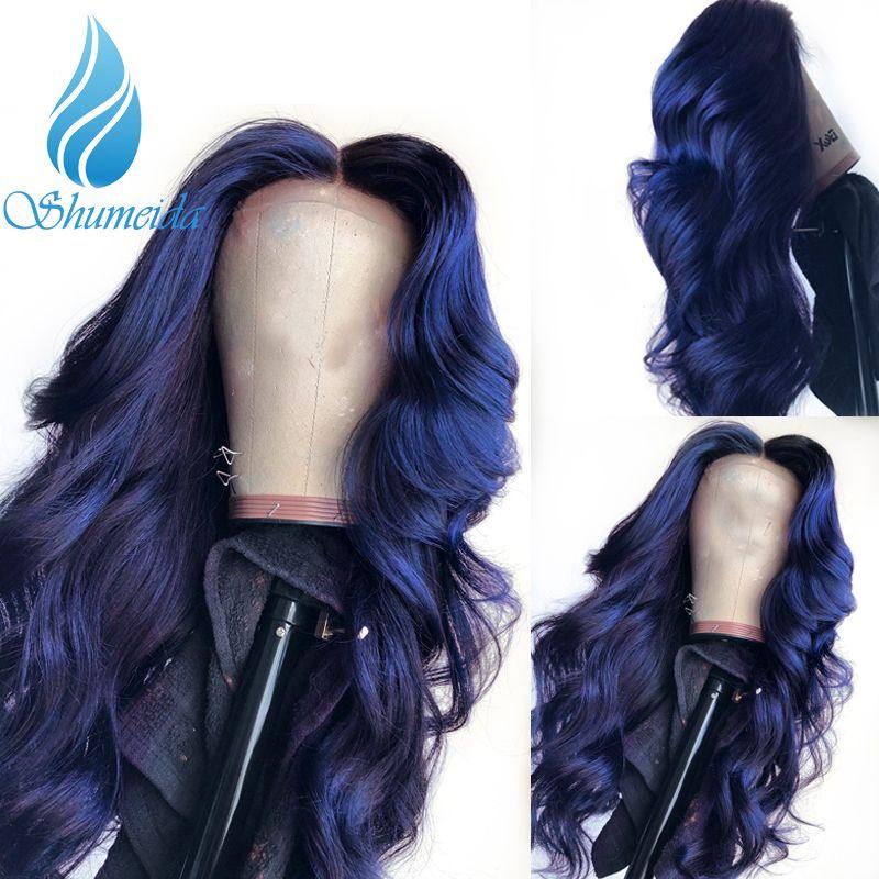 SHD 13*3 perruque frontale en dentelle bleu foncé avec ligne de cheveux pré-cueillie perruque frontale en dentelle brésilienne avec cheveux de bébé Remy cheveux humains