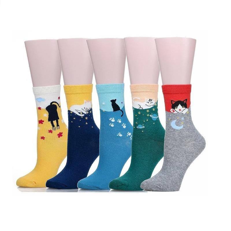 M Marca 5 par/lote multicolor Lindo Gato Harajuku Animal Diseño Cómodos Ocasionales de Las Mujeres Crew Algodón Calcetines calcetín De la Navidad del envío