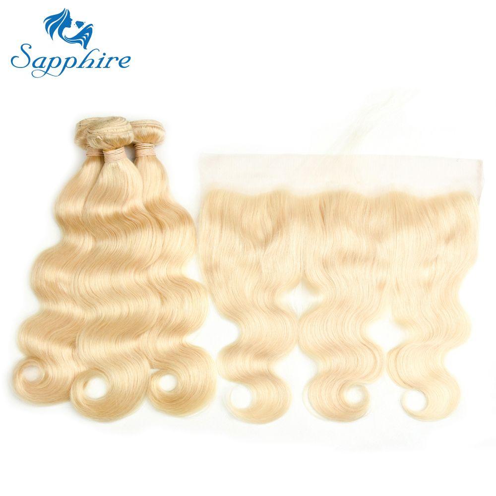 Zafiro pelo extensiones Cuerpo onda 613 blonde Cabello humano paquetes con Extensiones 3 paquetes con 13x4 Encaje frontal para el pelo salón
