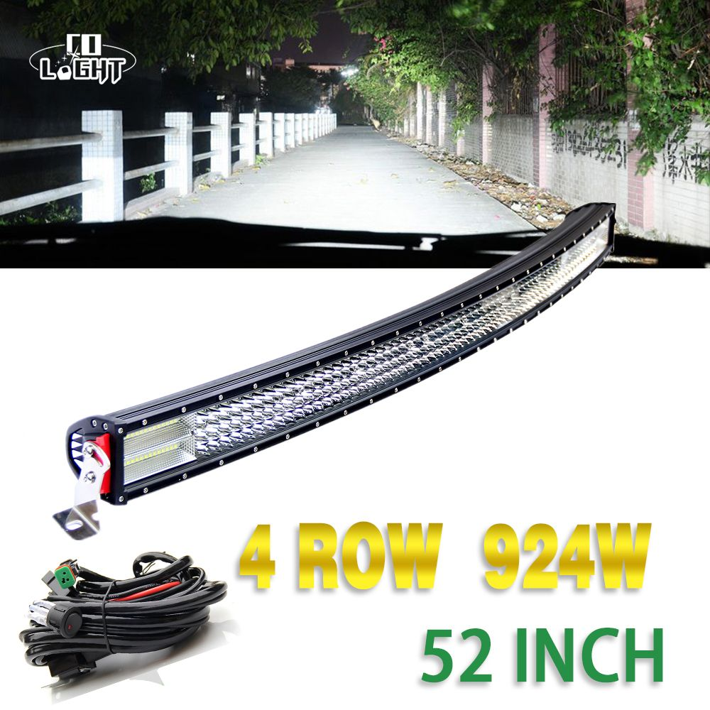 CO LIGHT 52'' Led Bar 924W Combo Beam 4 Row 8D Lens Curved 10-30V for 4X4 Jeep Wrangler Volkswagen Lancia Fiat Renault Decia