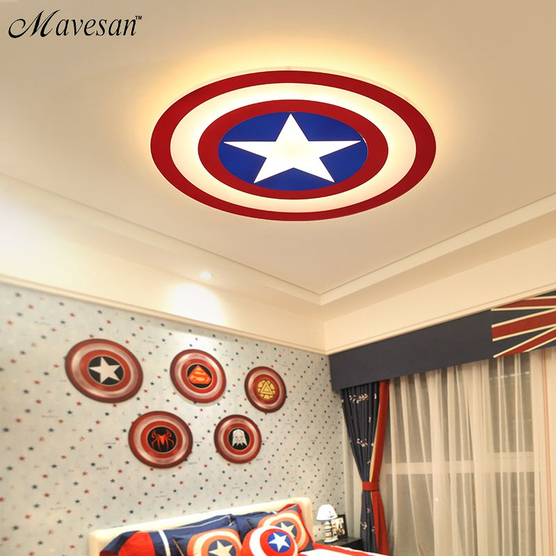 2018 Kids LED Ceiling Lights Captain America with remote control for bedoom study room acrylic lamp lamparas de techo abajur