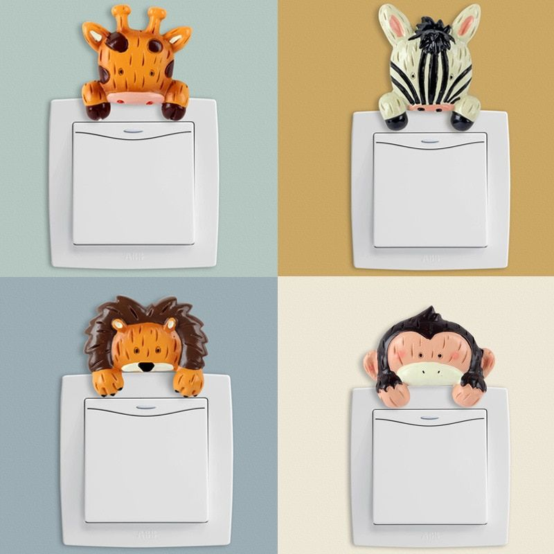 Keythemelife 1PCS Animals 3D Resin Wall Switch Sticker for Home Decoration Bedroom Parlor Decoration Paste C4