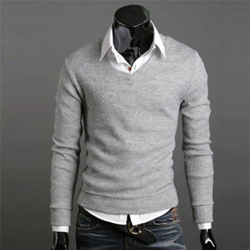 Männer Pullover Stricken Strickwaren Pullover Pullover Casual Slim Fit V-ausschnitt Grund Warme Tops Kleid 0449