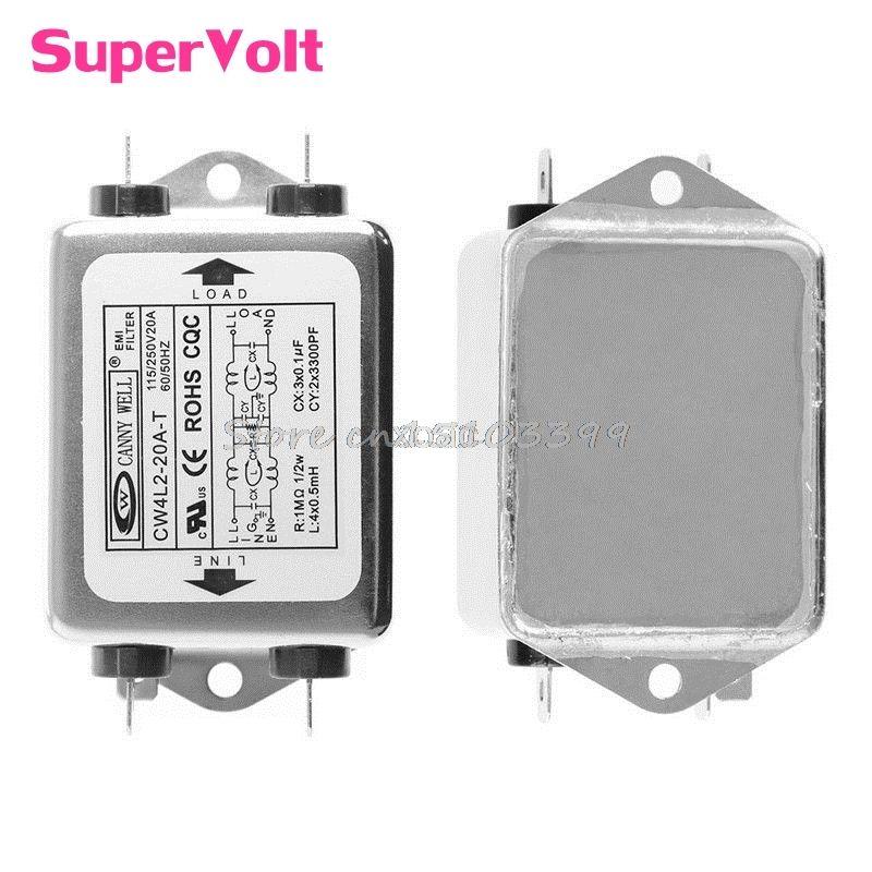 AC 220V 50/60 HZ Power EMI Filter CW4L2-20A-T Monophasic Enhanced M12 dropship