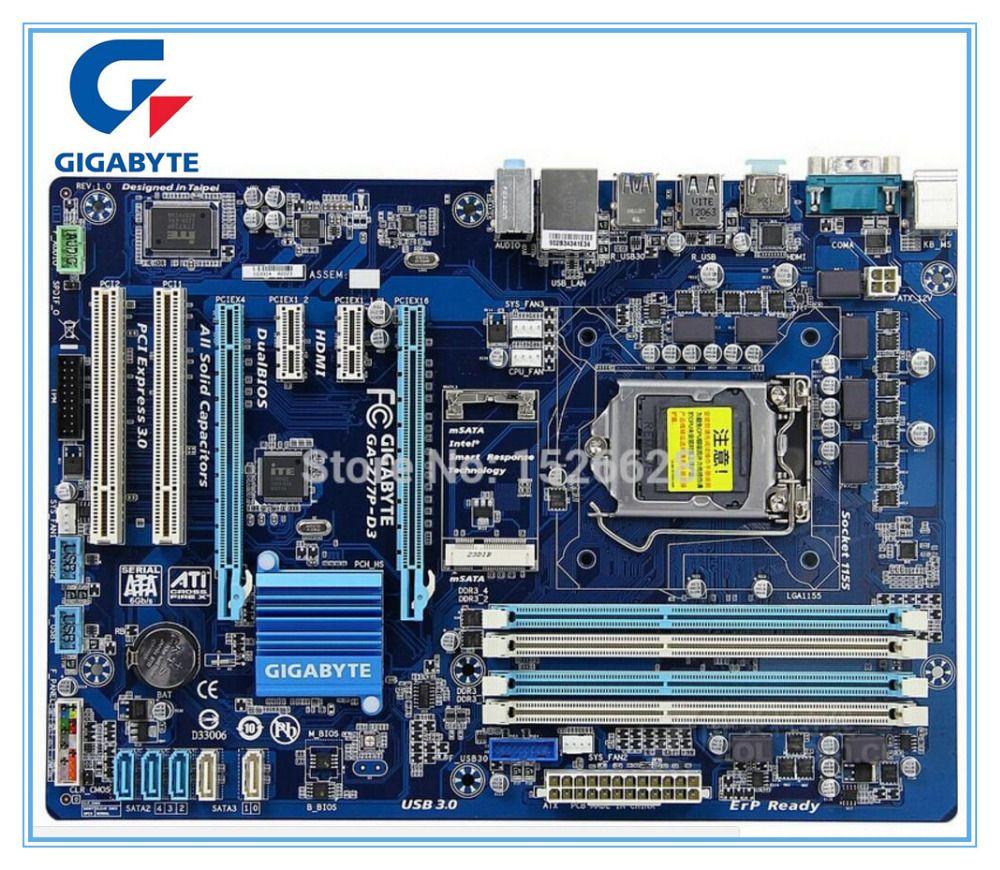 Gigabyte carte mère originale pour GA-Z77P-D3 DDR3 LGA1155 conseils USB3.0 32 GB Z77P-D3 Z77 Bureau Carte Mère