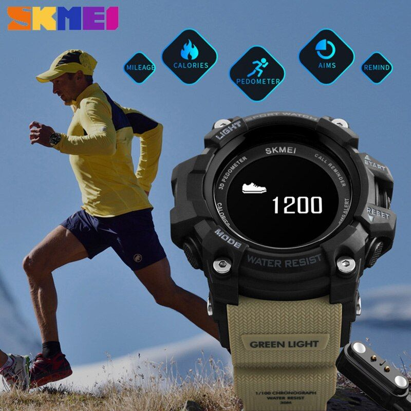 SKMEI Bluetooth Heart Rate Moniter Smart Wristwatches Man Military Clock Hours Men Sport Relogio Masculino Digital Analog Watch