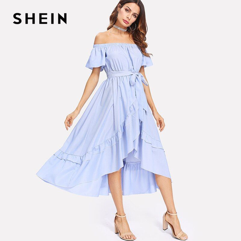 SHEIN Ruffle Trim Overlap Hem Striped Bardot Dress 2018 Summer Long Dresses Off The Shoulder Tie Waist A <font><b>Line</b></font> Asymmetrical Dress