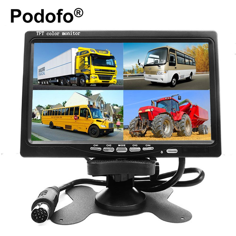 Podofo 7 Inch 4 Split Screen Car Monitor 4 Channels TFT LCD Display DC 12V for Reversing Camera System Car Rearview Monitor