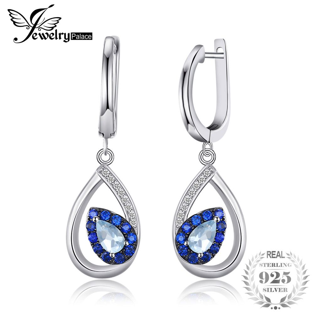 JewelryPalace Mode 1.7ct Naturel Topaze Bleu Ciel Clip Boucles D'oreilles Pour Femme Véritable 925 En Argent Sterling Bijoux