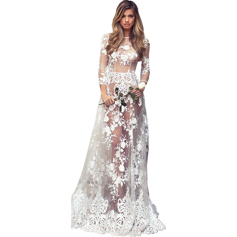 2018 summer new women sexy club party lace mesh embroidery long dress o neck wrist sleeve floor length sheath women dresses 5295