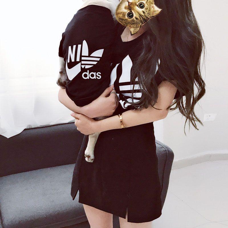 HSWLL Sommer neue brief baumwolle eltern-kind-geladen dünne kurze ärmeln Teddy Französisch Bulldog hund kleidung Koreanische version der t