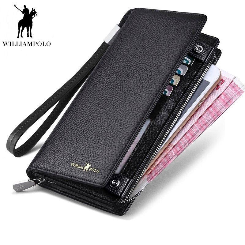 WilliamPOLO 2018 Neue Herren Brieftasche Zipper Haspe Design Lange Echtem Leder Business Telefon Für Kreditkarten Kupplung Brieftasche Männer Geschenk