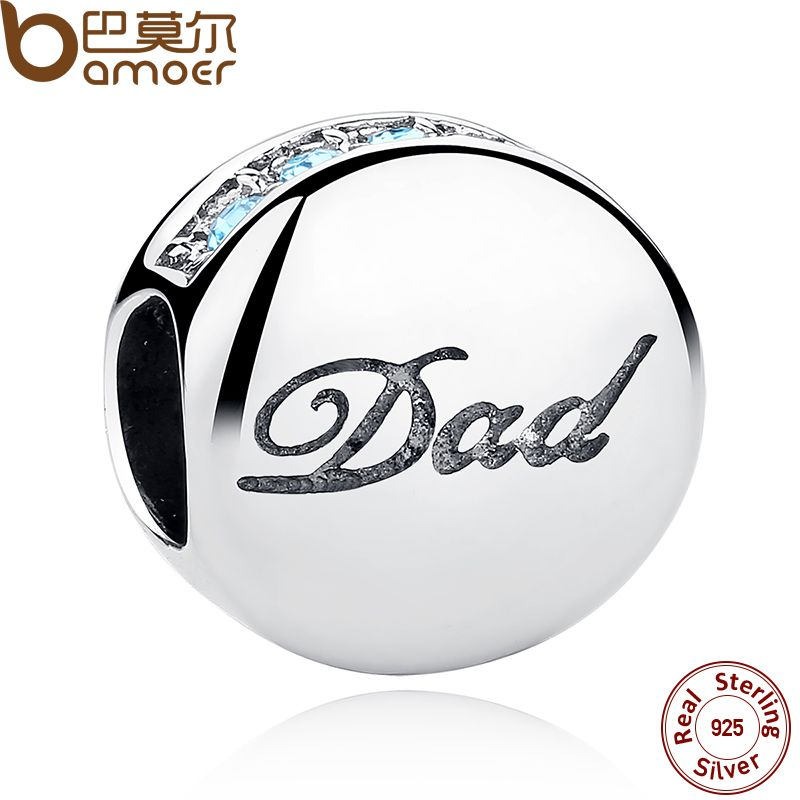 BAMOER Echtes 925 Sterling Silber Blaue Kristalle Dad Charme Fit Armbänder Armreifen Vatertagsgeschenk SCC006