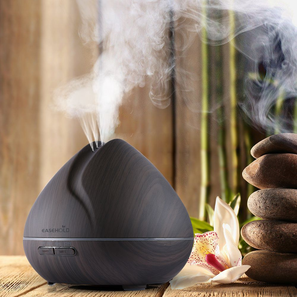 EASEHOLD 400ml Aroma Essential Oil Diffuser Ultrasonic Air Humidifier with Wood Grain 7Color <font><b>Changing</b></font> LED Lights for Office Home