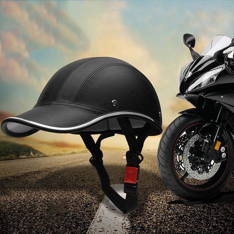 1Pc PU Leather Motorcycle Open Half face Helmets Bicycle Scooter Helmet Baseball Cap Protective Helmets