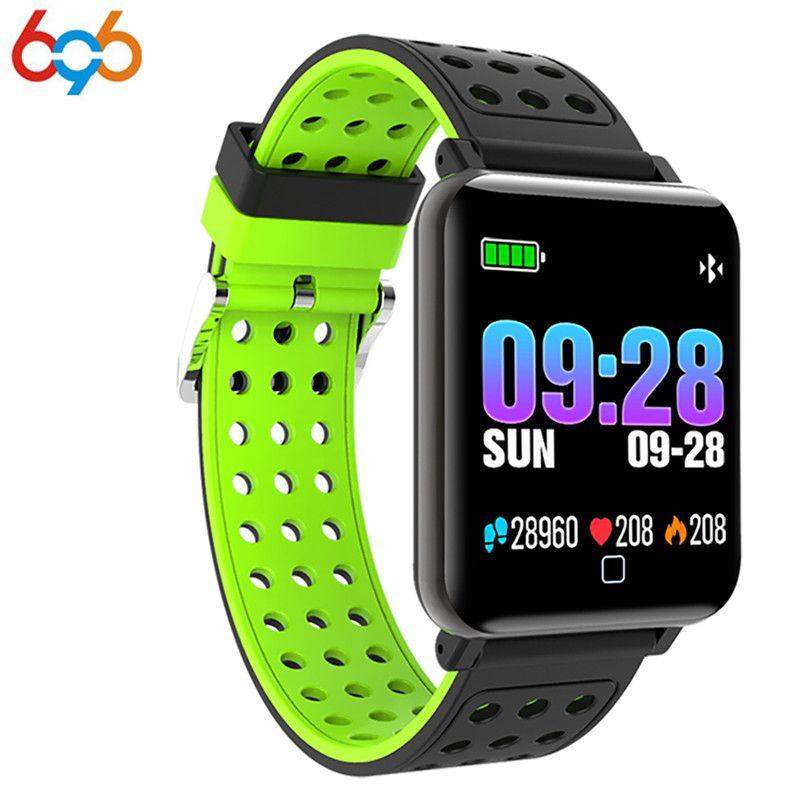 696 2018 Sang Pression Smart Montre Hommes Sport de la Fréquence Cardiaque Montre Compteur D'impulsions De Natation Bracelet Étanche Bluetooth Horloge pour Wom