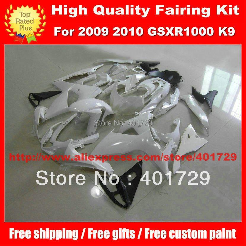 Glossy white motorcycle body work for SUZUKI GSX- R1000 2009 2010 GSXR1000 09 10 K9 free gifts fairings body kit
