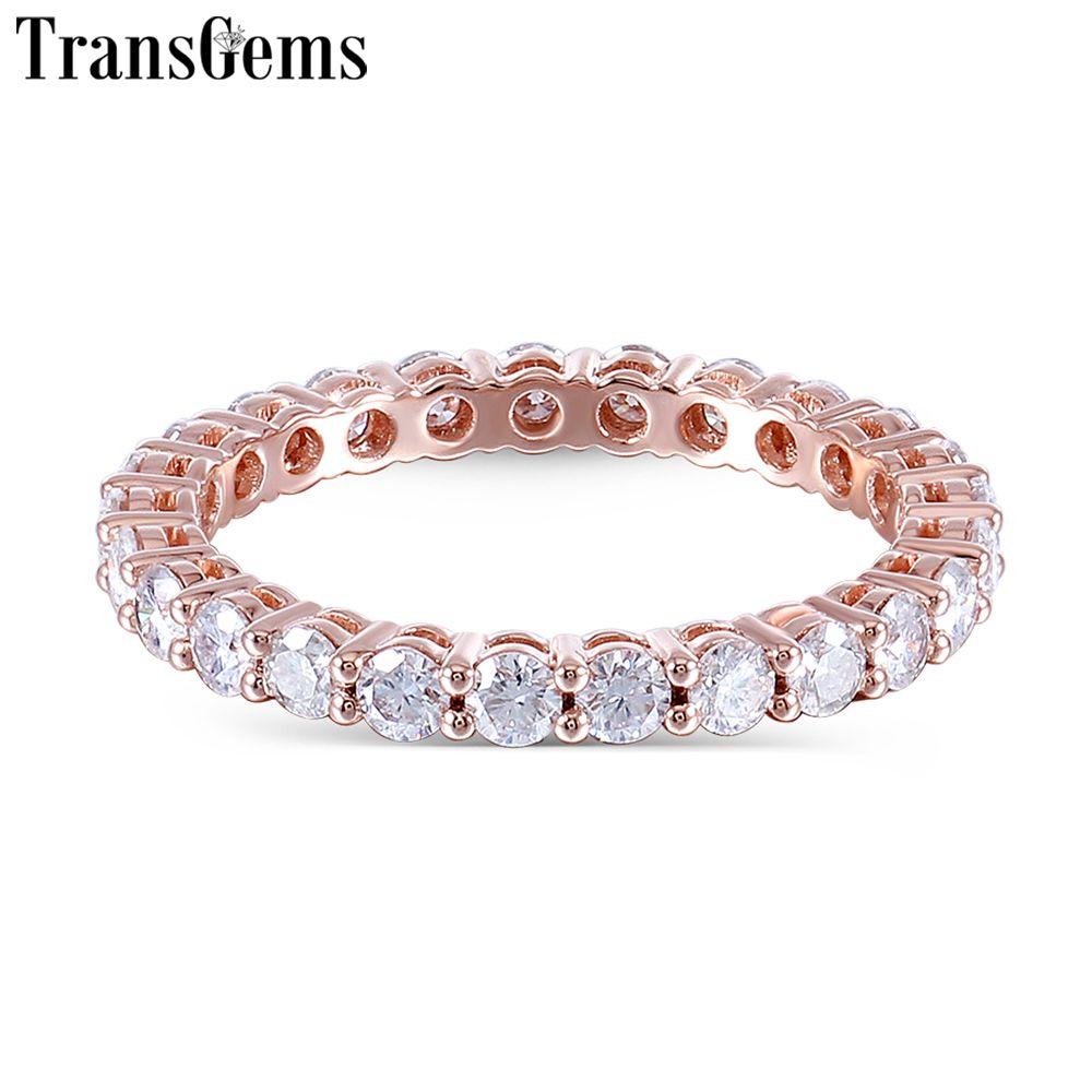 TransGems 14 K 585 Rose Gold 1.2CTW zu 1.8CTW 2,5mm Moissanite Voll Eternity Hochzeit Band für Frauen Geschenk