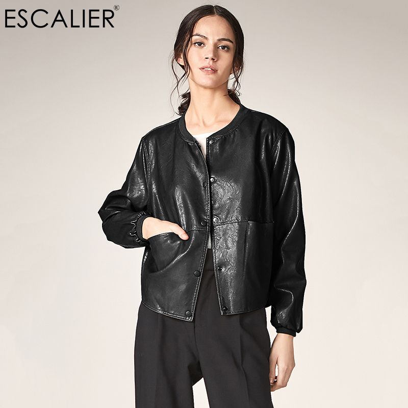 ESCALIER Autumn Leather Jacket Women Casual Long Sleeve Button Slim Basic jackets 2018 Fashion PU Leather Bomber Coat Femininas