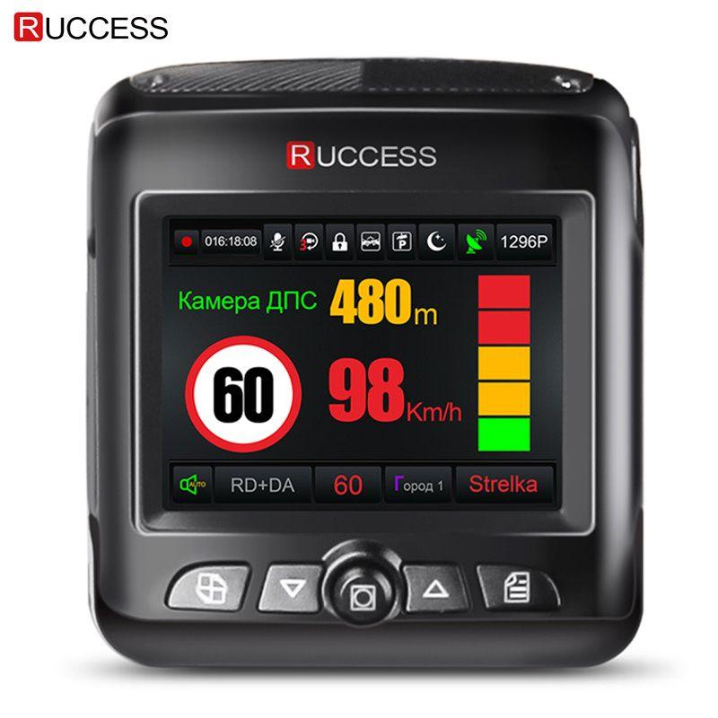 Ruccess Car DVR Radar Detector GPS 3 in 1 Full HD 1296P 1080P Video Recorder Camera Dual Lens Dash Cam Speedcam Russian